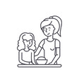 mom and daughter line icon concept mom and vector image vector image