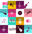 music background with icons set vector image vector image