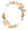 oval autumn frame with branches leaves vector image