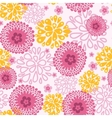 Pink field flowers seamless pattern background vector image