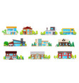 private buildings real estate villas icons set vector image vector image