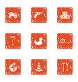 repair site icons set grunge style vector image