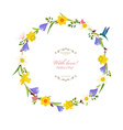 round border with spring flowers vector image vector image