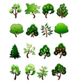 set cartoon green plants and trees vector image