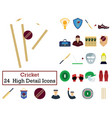 set of 24 cricket icons vector image vector image