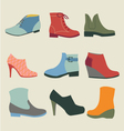 Set of fashion woman footwear vector image