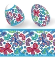 Set of Isolated Easter eggs and seamless geometric vector image vector image