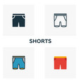 shorts icon set four elements in diferent styles vector image vector image