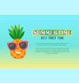 smiling pineapple in sunglasses party time vector image vector image