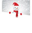snowman holding an empty space for text vector image vector image