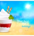 Sweet creamy desert on seascape background vector image