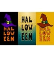 Three Happy Halloween vertical bahhers witch hat vector image vector image