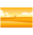 Yellow landscape with clouded sky vector image vector image