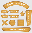 set of wood button banner and signs style vector image