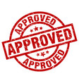 approved round red grunge stamp vector image vector image