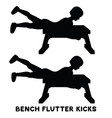 bench flutter kicks sport exersice silhouettes of vector image vector image