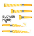 blower horn yellow party blower sign vector image