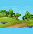 cartoon summer landscape with road trail to forest vector image vector image