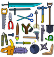 Cartoonish tools and weapons vector image vector image