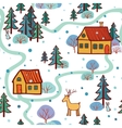 Christmas pattern with houses vector image