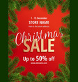 christmas sale red poster for shop vector image vector image