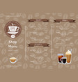 coffee shop horizontal menu template vector image vector image