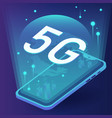 concept 5g in future on your phone with vector image vector image