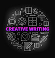 creative writing colored round outline vector image vector image