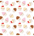 cupcakes and muffins pastry background seamless vector image vector image