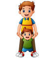 father with son holding hand together vector image vector image