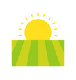 field and sunrise agriculture flat icon concept vector image vector image