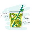 hand-drawn lemonade in a glass vector image