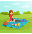 happy couple having picnic in the park vector image