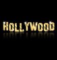 hollywood golden logo gold letters sign vector image