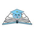 kawaii cute happy cap graduation over open book vector image vector image