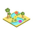 kids water park attraction isometric 3d element vector image