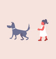 little girl in white dress walking with dog cute vector image