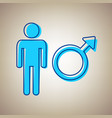 male sign sky blue icon with vector image vector image