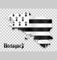 map brittany silhouette on transparency grid vector image