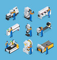 metalworker isometric icon set vector image vector image