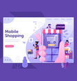 mobile shopping people web landing page template vector image