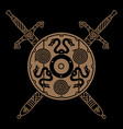old norse viking design two crossed battle vector image vector image