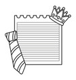 paper sheet with crown and tie black and white vector image vector image