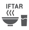 ramadan iftar glyph icon food and arabian meal vector image