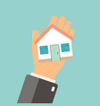 real estate concept agent holding home buing vector image vector image