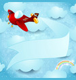 red airplane with banner vector image
