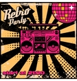 Retro party poster template with boombox on grunge vector image vector image