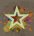 retro star with ink splash on grunge background vector image