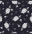 seamless black and white pattern with peonies vector image vector image