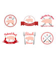 set butchery logos icons with pig vector image vector image